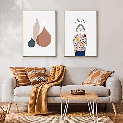 Obra de arte minimalista moderna sala de estar planta abstracta figura de niña póster lienzo pintura cuadro de arte de pared decoración del hogar (50X70cm) X2 sin marco