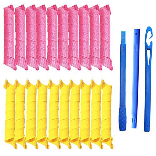 Rpanle 27'/55cm Rizador de pelo sin calor, 20 piezas Rizadores de pelo durante la noche y 1 ganchos de peinado para cabello extra largo Rosa y Amarillo