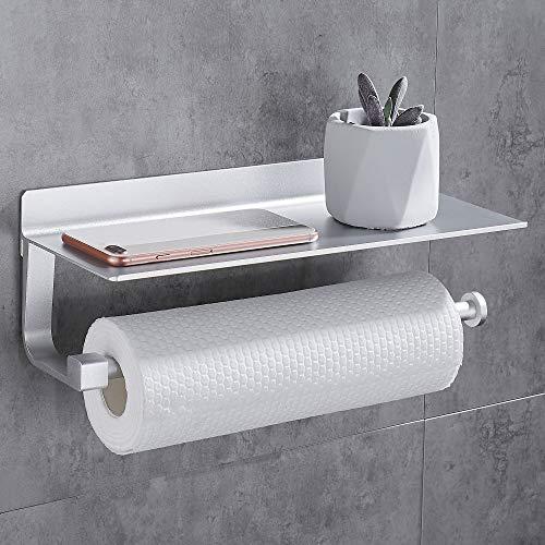Gricol Küchenrollenhalter Toilettenpapierhalter Ohne Bohren Wandrollenhalter Küchenrollenhalter Ohne Bohren mit Ablage Papierrollenhalter Wandmontage Silber