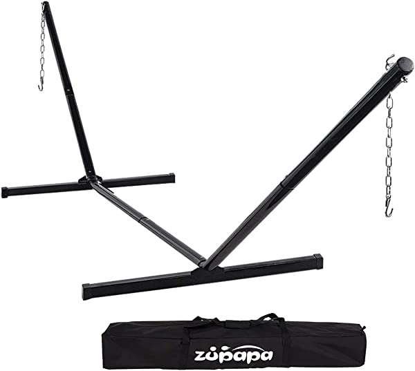 Zupapa Hammock Stand Fit For 12 15 Feet Hammock 2 Person Heavy Duty 550 LBS Capacity With 2 Steel Chains 1 Carry Bag Outdoor Indoor Use Steel Hammock Frame