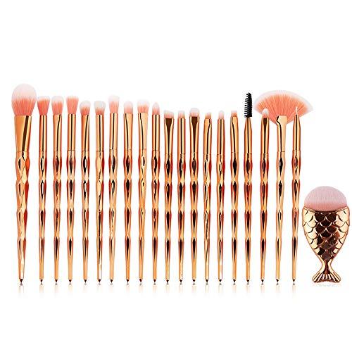 Edary Make-up Pinsel 21 Stücke Diamant Griff Augenbürste Plus Meerjungfrau Professionelle Make-up Pinsel Set Erröten Pinsel Foundation Lidschatten Pinsel Schönheit Werkzeuge (Rose Gold)