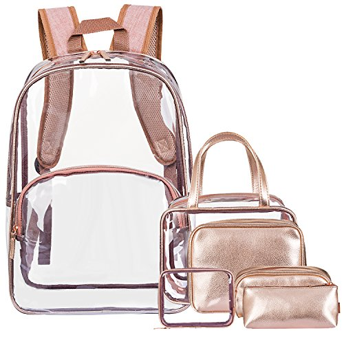 NiceEbag 6 in 1 Kulturtasche & Kultur Rucksack klares PVC Make up Backpack Gepäck Kulturbeutel Reise Kosmetikbeutel Transparent Kosmetiktasche & durchsichtige Tasche für Damen und Herren,Roségold