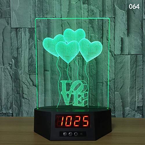 XHYYD 3D Nachtlicht Tischleuchte 16 Farben berühren und Fernbedienung Geschenkbox, Liebesherzen Luftballons Briefe, Lampe Kreative LED-Nachtlichter Neuheit Illusion Nachtlampe 3D-Illusion Tischlampe f