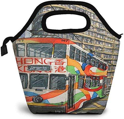 Hong Kong Tram Vintage Travel Poster Bolsa de almuerzo con aislamiento Caja Bento personalizada Enfriador de picnic Bolso portátil Bolsa de almuerzo para mujeres, niñas, hombres, niños