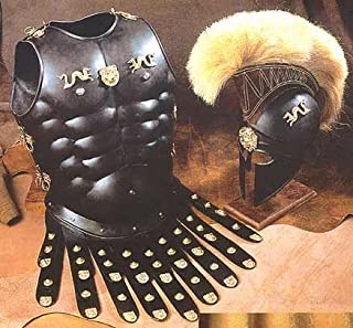 NAUTICALMART Halloween Costume Collectible Greek Roman Muscle Armor with Black Corinthian Helmet