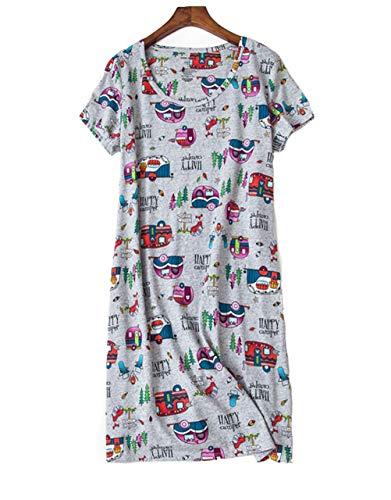 Nachthemd Damen Nachtwäsche Baumwolle Drucken Lose Sleepshirt Kurzarm Sexy Schlafshirt Nachtkleid große größe