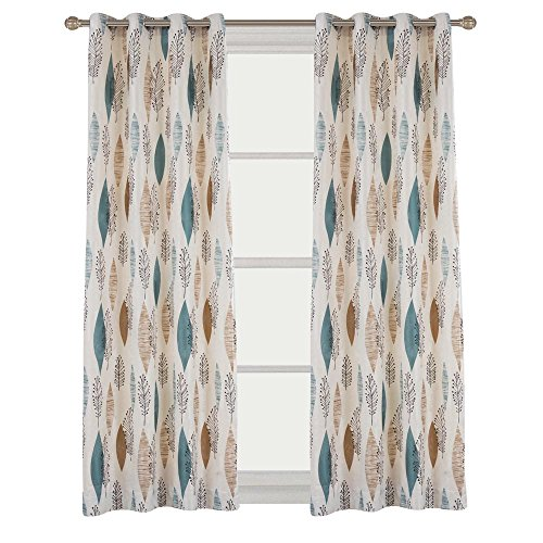 Cherry Home Contemporary Multicolored Leaves Curtains Print Floral Blackout Lined Curtain Panel Drapes Nickle Top Grommet 52Wx72L Inch ,1 Panel for Bedroom