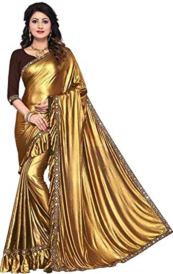 Indian Women's Lycra Blend Saree With Un Stitched Blouse Piece Saree