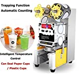 Fully Automatic Cup Sealing Machine, Cup Sealer Machine Digital Control 450W Commercial Electric Fully Automatic Sealer Paper/Plastic Cup Sealing Machine for Bubble Milk Tea Coffee Smoothies Sealer
