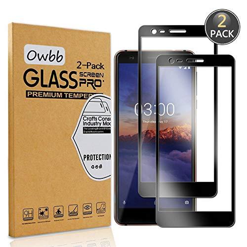 Owbb [2 Stück] Schwarz Gehärtetes Glas Bildschirm schutzfolie Für Nokia 3.1 (2018) Full 100prozent Coverage Schutz 99prozent High Transparent Explosionsgeschützter Film