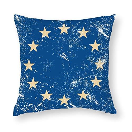 Funda de almohada decorativa de microfibra suave con diseño de bandera de Eu retro, 45 x 45 cm.