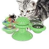 QAZ Molino de Viento Juguetes para los Gatos Puzzle Torbellino de la Placa giratoria con el Gato del Cepillo Juego Juego Juguetes Molino Gatito Interactivo Juguetes Artículos para Mascotas,Verde