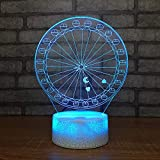 Ferris wheel night 3D Kids Gift decoración del hogar inteligente LED Lámpara de mesa 3D Kids Gift mesita de noche LED Lámpara de mesa Usb niños