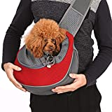 Caseeto ペットバッグ ペットキャリーバッグ 猫用 犬用 リュック 抱っこ バッグ ショルダー バッグ 斜めがけ 携帯 メッシュ9kg以内 耐久性 小型犬 通気性抜群 肩紐長さ調整可能 飛び出し防止ペット用 スリングバッグ (レッド)