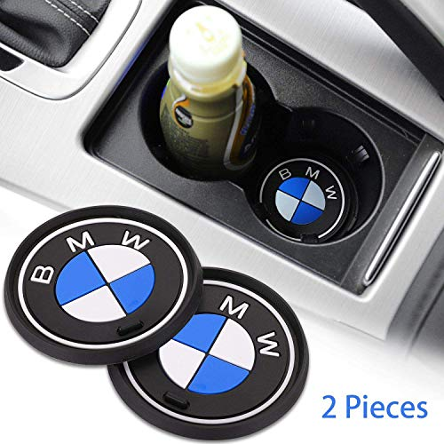 OSIRCAT 2PCS Car Logo Cup Holder Coaster for BMW Accessories,2.6 Inch Diameter Anti Slip Mat Auto Interior Pad