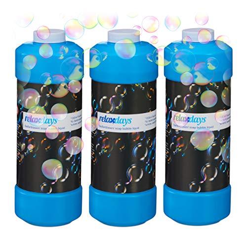 Relaxdays 3X 1 Liter Seifenblasenflüssigkeit im Set, Nachfüllflasche, für Seifenblasenmaschine, Seifenblasenpistole