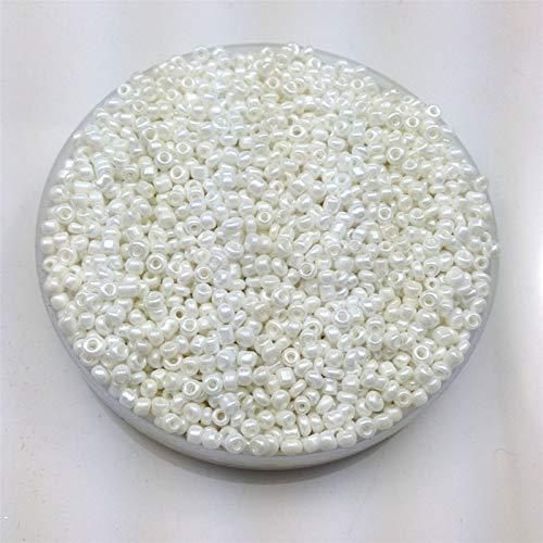 Xuping shop 1000 cuentas espaciadoras redondas de color blanco AB perla, redondas, opacas, sueltas, cuentas de cristal Cezch semillas, hechas a mano, joyería de bricolaje