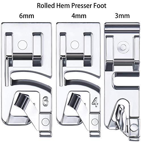 3 Pieces Narrow Rolled Hem Sewing Machine Presser Foot Set (3 mm, 4 mm and 6 mm) Nähmaschinen-Kit Nähfüße Ersatzteile Zubehör Geeignet für Haushalts-Multifunktionsnähmaschinen