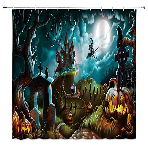AMHNF Halloween Duschvorhang Horror Kürbis Geist Hexe Vollmond Totes Baum Kreuz Fantasy Nacht Friedhof Gruselig Home Badezimmer Dekor Stoff Vorhang mit 12 Haken, 178 x 178 cm, blau braun grau