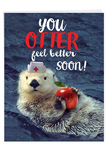 NobleWorks - Jumbo Get Well Card Funny (8.5 x 11 Inch) - Group Humor Greeting Card, Feel Better Soon - Otterly Awesome J6574DGWG