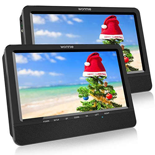 WONNIE 10.5'' Dual Portable DVD Player for Car Built-in 5 Hours Rechargeable Battery, USB&SD...