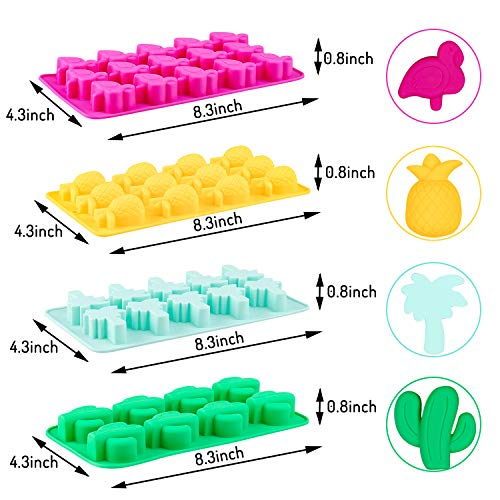 Whaline 4 Pcs Silicone Chocolate Molds, Candy Moulds with Droppers Molds, Ice Cube Tray Candy Mold for Kids Party's and Baking Mould Peanut Butter Cup Cake Decoration