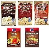 Idahoan Instant Mashed Potatoes Variety (4 oz x 3 pack) and McCormick Gravy Mix Packets (0.87 oz x 2 pack) - 5 pc Bundle (Original FourCheese Applewood Bacon & Pork Mushrom)