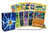 50 Assorted Pokemon Cards - 3 Rare Cards, 2 Holographic Cards, 45 Commons/Uncommons - Authentic with No Duplication - Includes Golden Groundhog Deck Storage Box!