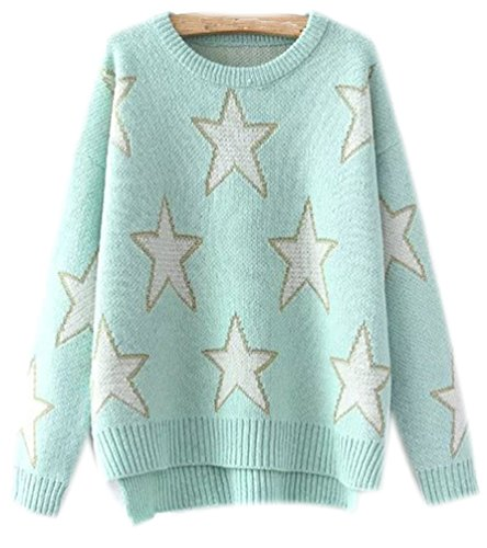 Fuxiang Mohair Sweater Damen Sterne Pullover Rundhals Strickpullover Mantel Frauen Pullover Winterpullover Warme Winterjacke Pullis Herbst Winter Blau