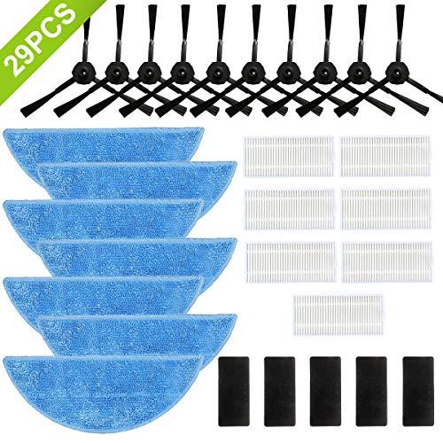 Accessori per ILIFE robot aspirapolvere V3 V3 V5 V5S V5S Pro 29 pezzi, ricambio per robot aspirapolvere ILIFE Accessori ILIFE 7*Mop 7*Filtro HEPA 5*Chiusura in velcro 10*Spazzola laterale