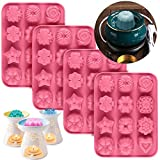 Palksky 4 Pack Silicone Wax Melt Molds/Flower Wax Tart Mold/ 12 Cavity Wax Cubes Tray for Candle-Making & Soap(Mix Shape: Rose, Jasmine, Vanilla, Magnolia, Crown, Heart)