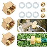 Hourleey Garden Hose Adapter, Brass Standard 3/4' Female Thread to 1/4' Tube Adapter for Water Hose, Convert 3/4' Garden Hose to 1/4' Tube, 3 Set
