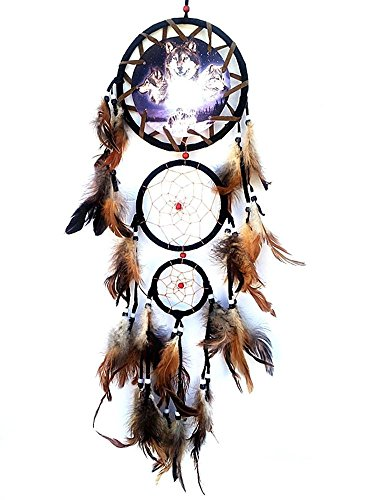 Willcomes Handmade Wolf Dream Catcher Wind Chimes Indian Style Feather Pendant Ornament Car Hanging Dreamcatcher Gift