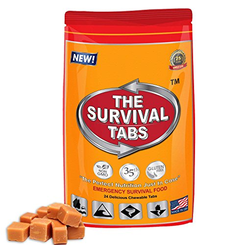 Survival Tabs 2-day Food Supply Ration Survival MREs Meals Boating Biking Hunting Outdoor Also Disaster Preparedness Tsunami Gluten Free and Non-GMO 25 Years Shelf Life - Butterscotch Flavor