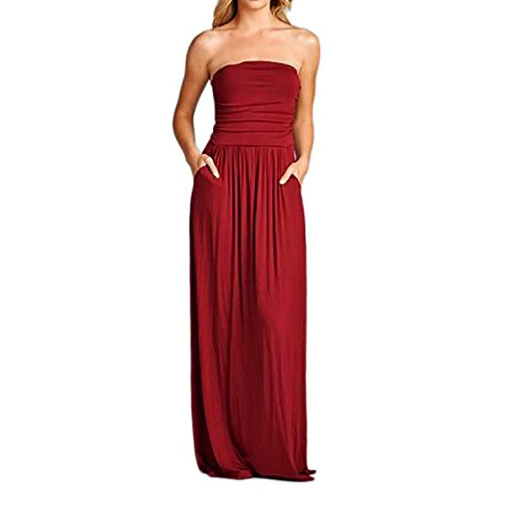 Yxiudeyyr Summer Womens Off The Shoulder Maxi Dresses Summer Strapless Bandeau Long Dress with Pockets