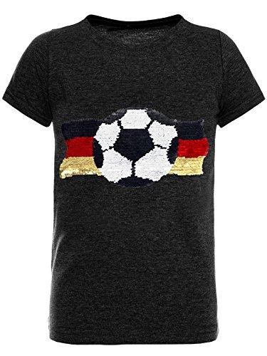 BEZLIT Deutschland Jungen Kinder Wende-Pailletten Fussball WM 2018 Fan T Shirt 22513 Anthrazit Größe 104
