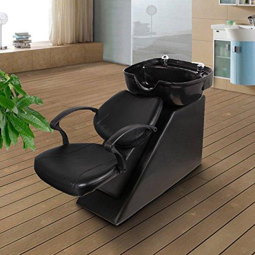 Esright Backwash Chair Salon Bowl Shampoo Equipment Sink Unit Double Drain Beauty Stylist Station (Basic)