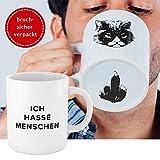 Premium 'Ich hasse Menschen' Tasse mit Katzen-Motiv, bruchsicher verpackt  witzige weiße Kaffee...