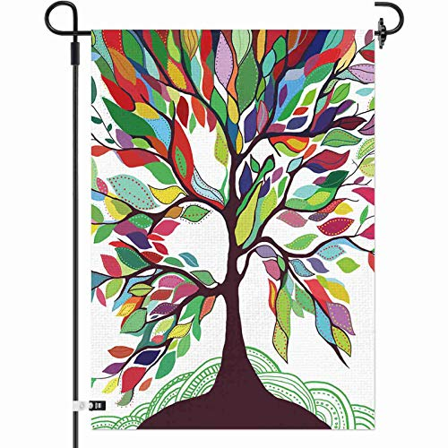 AOKDEER Garden Flag Colorful Rainbow Tree of Life 12×18 Inch Double Sided Burlap Decorative Yard Banner Garden Flag Holiday Flag for Party Home Outdoor Decoration (1PCS)