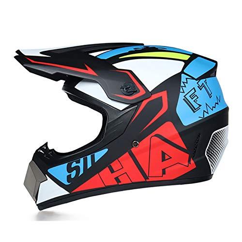 FANGJIA-Helmet Cascos de Cross Set (4 Pcs), Casco Motocross Adultos con Orejeras Desmontables, Casco Descenso Integral Set de Protecciones Moto para MTB Quad MX Enduro Motocicleta