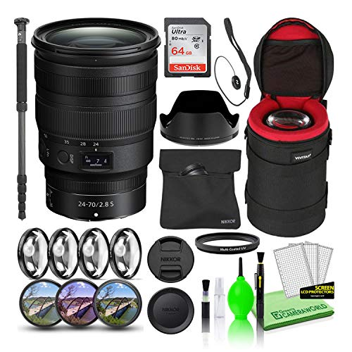 Nikon NIKKOR Z 24-70mm f/2.8 S Zoom Lens (20089) USA Model Bundle with 64GB Ultra SDHC Memory Card + Padded Lens Case + 70-Inch Professional Monopod + 8-Piece Filter Kit (Macro, UV, CPL, FLD) + More
