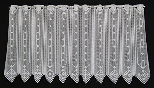 VHG Scheibengardine grafisch 60 cm hoch Weiß - Breite frei wählbar durch gekaufte Menge in 14 cm Schritten - Fenster Gardine Kinderzimmer Wohnzimmer