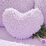 MooWoo Fluffy Heart Throw Pillow with Pillow Cover and Insert, Shaggy Faux Fur, Decorative Design for Indoor and Outdoor, (Purple, Heart Shape-15.7X15.7Inches)