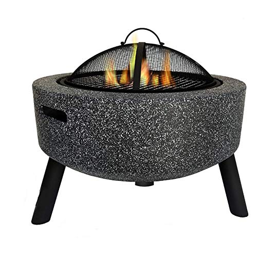 Cast Stone Fire Pit, 23' Diameter Firepit Table Wood Burning, Mesh Screen Spark Protector and Lift Hook, Large Heat Resistant Fire Bowl with Steel Base