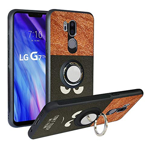 Alapmk Cover per LG G7 ThinQ, [Pattern Design] TPU Case con Girevole Regolabile 360 Magnetica per LG G7 ThinQ,Do Not Touch