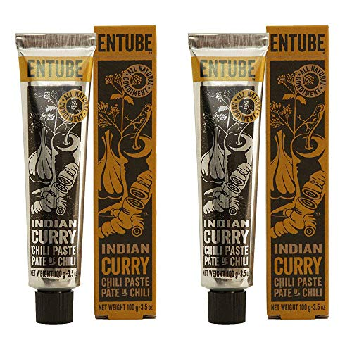 Entube Organic Indian Curry Paste, All Natural Spicy Vegetarian Curry Chili Paste, Turmeric Powder, Non-GMO, Gluten-Free, Paleo Diet, Best Vegan Yellow Curry Sauce for Cooking (2-Pack, MSRP $23.90)