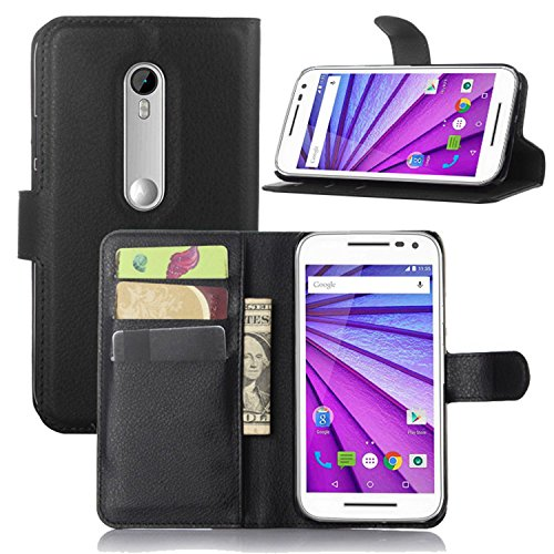 Ycloud Tasche für Motorola Moto G 3 Generation Hülle, PU Ledertasche Flip Cover Wallet Hülle Handyhülle mit Stand Function Credit Card Slots Bookstyle Purse Design schwarz