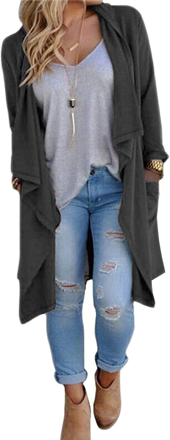 SWISSWELL Cardigan Women Knitted Open Front Long Trench Coat Cardigan