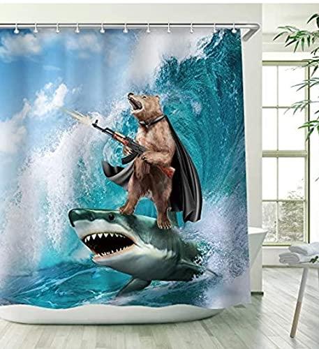 Shark Brown Bear Sea Surf Machine Gun Decoration Waterproof Polyester Fabric Bathroom Shower Curtain with Hook Home Decoration