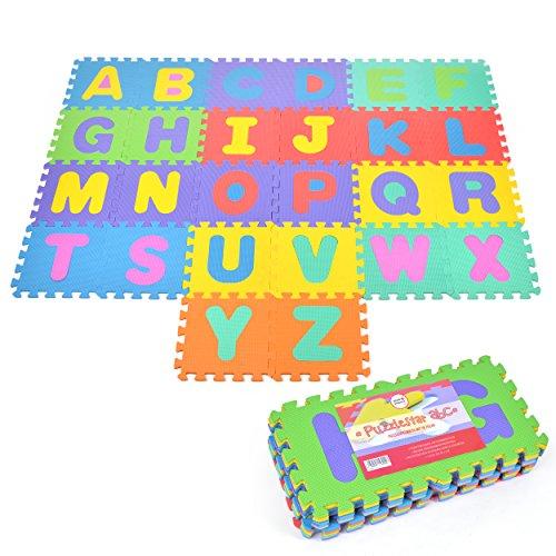 Puzzlematte Kids ABC, 26 TLG. Puzzlematte für Kinder aus rutschfestem Eva, große Spielmatte zusammensteckbar, jedes Teil 30 x 30 x 1 cm, Kinderteppich zum Puzzeln mit Buchstaben